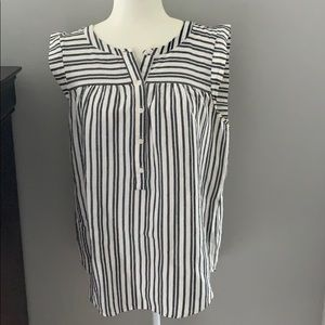 Ann Taylor LOFT striped blouse grey white